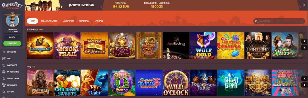 GunsBet Casino Norge